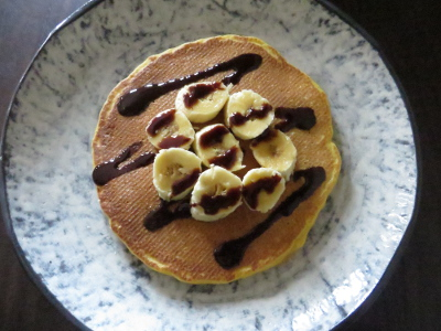 pumpkin pancake with bananas and chocolate